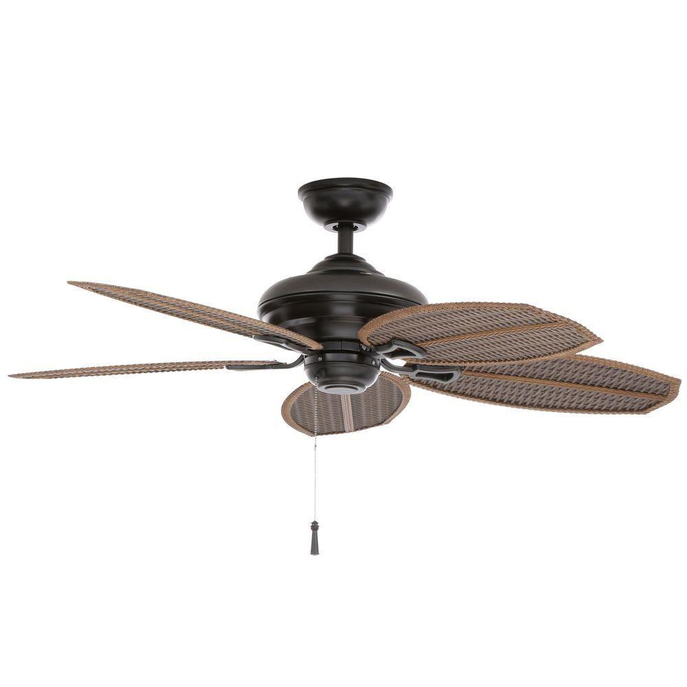 Hampton Bay Palm Beach Ii 48 In Indoor Outdoor Natural Iron Ceiling Fan 59299 Ceiling Fan Outdoor Ceiling Fans Unique Ceiling Fans