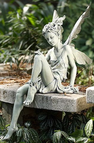 Azray Garden Colored Sitting Fairy Statue Not Available Outside Of The Us International Orders Fairy Statues Garden Statues Fairy Garden