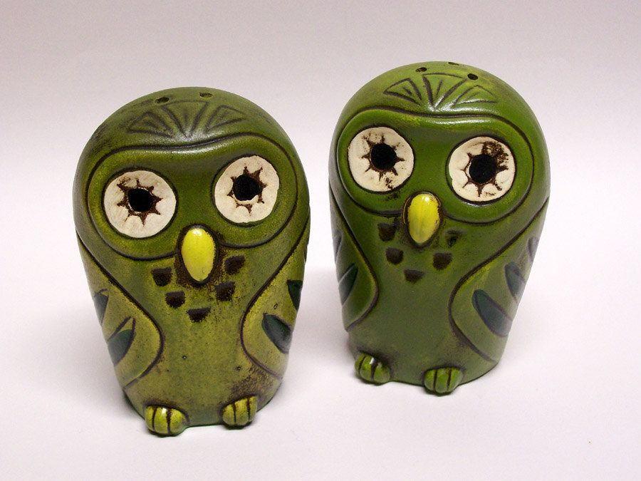 Green Owl Salt and Pepper Shakers