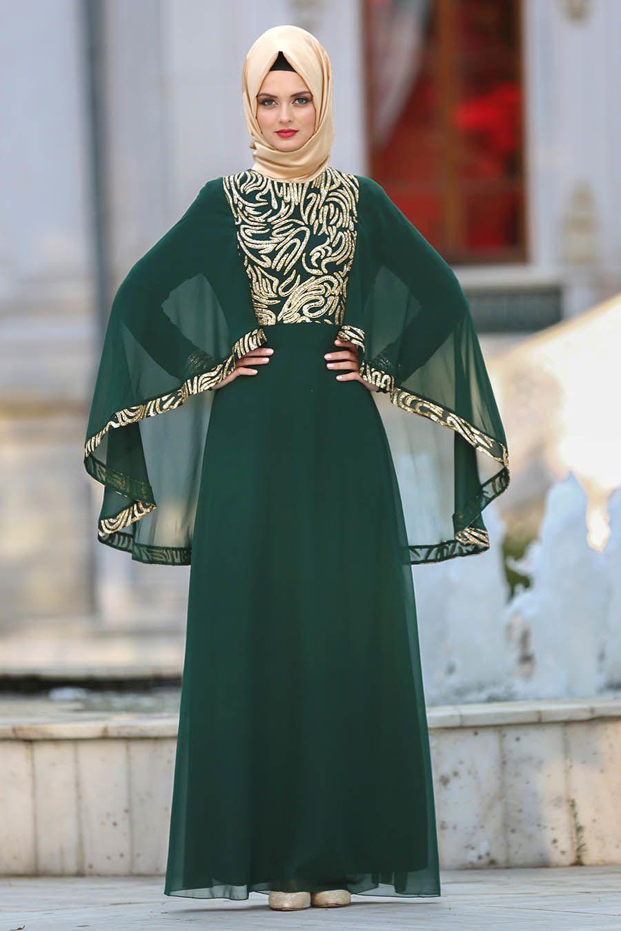 Neva Style Payet Detayli Yesil Tesettur Abiye Elbise 25620y Tesetturisland Tesettur Tesetturelbise Tesetturgiyim Tes Aksamustu Giysileri The Dress Payet