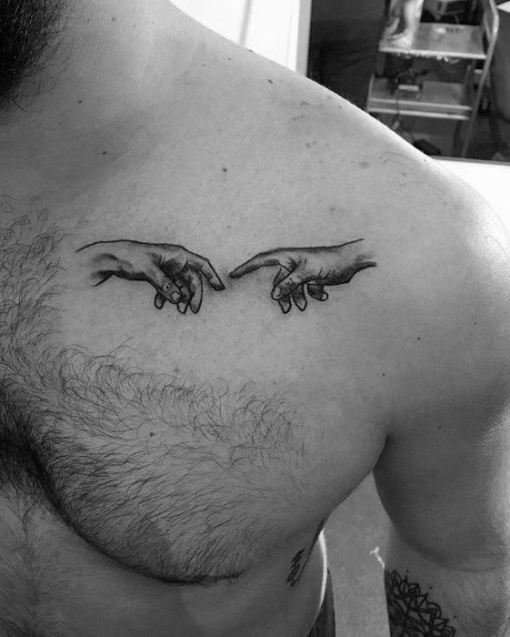 60 The Creation Of Adam Tattoo Designs For Men Michelangelo Painting Ideas Tattoo Designs Men Cool Small Tattoos Small Chest Tattoos