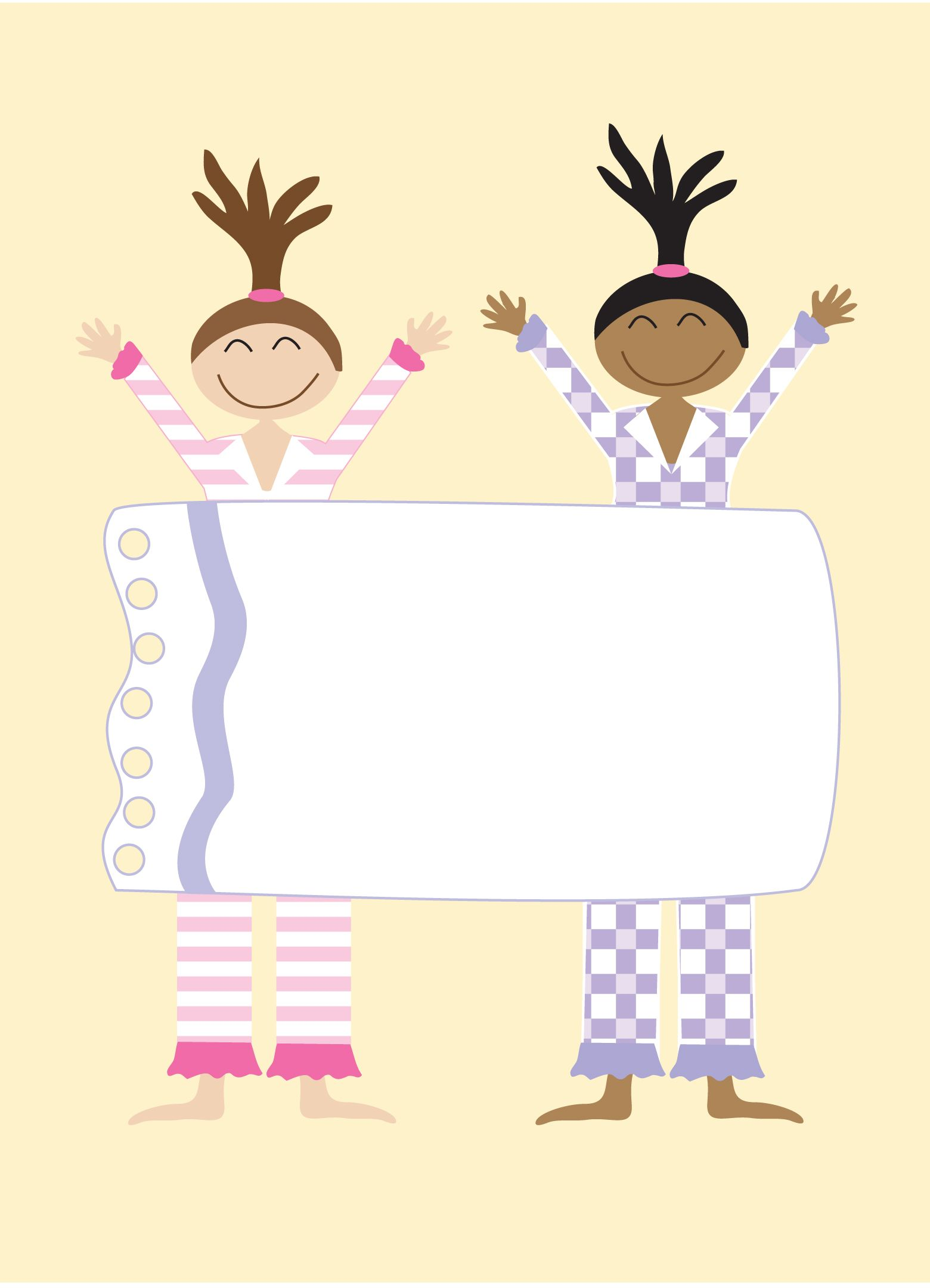 girls pajama party invitation background kids stationery