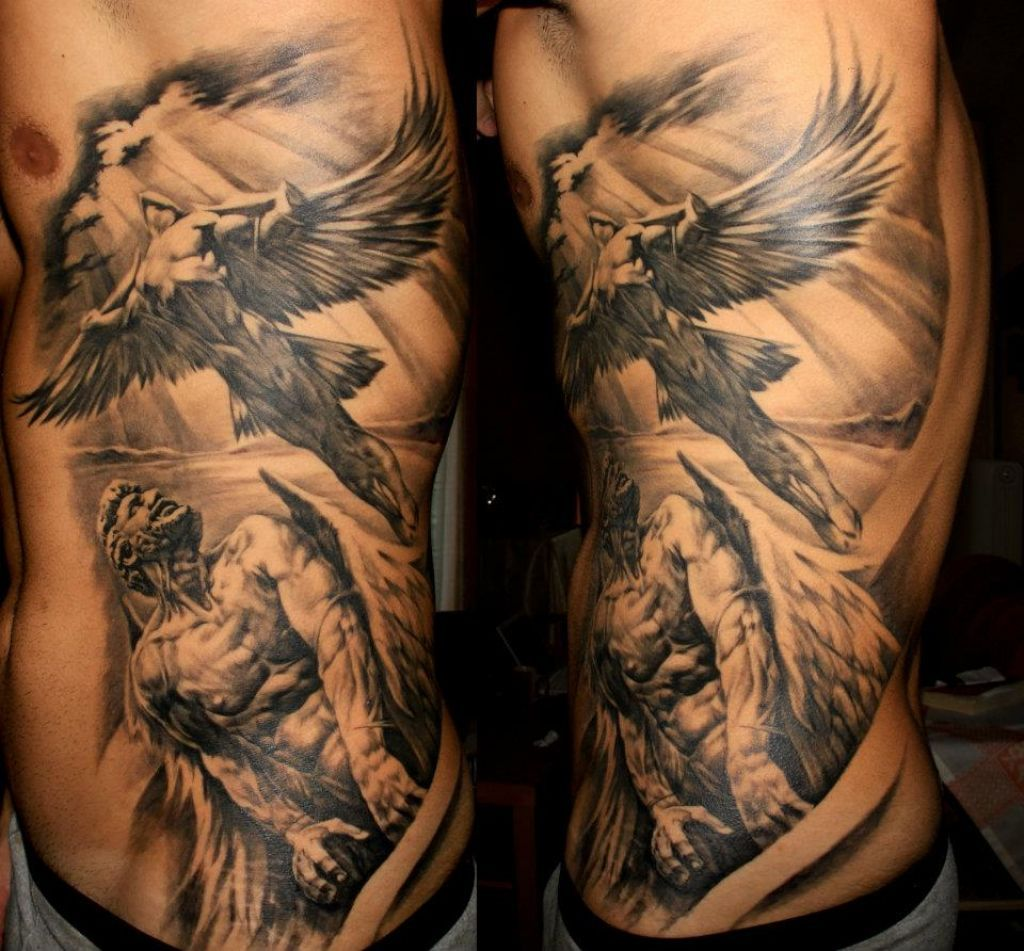 Related posts of rib tattoos designs for men angels rib for Religious rib tattoos for guys