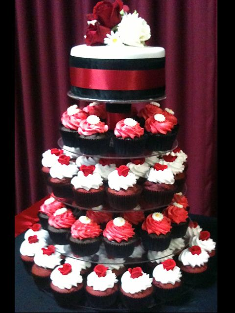 Black White And Red Cupcake Tower