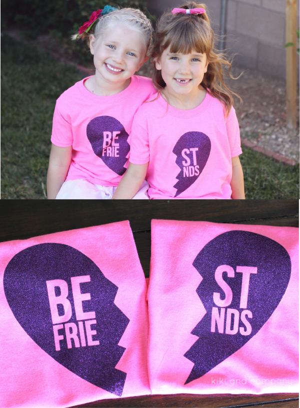 Best Friends T Shirts With Htv Glitter Vinyl Kiki Company Best Friend T Shirts Friends T Shirts Htv Shirts