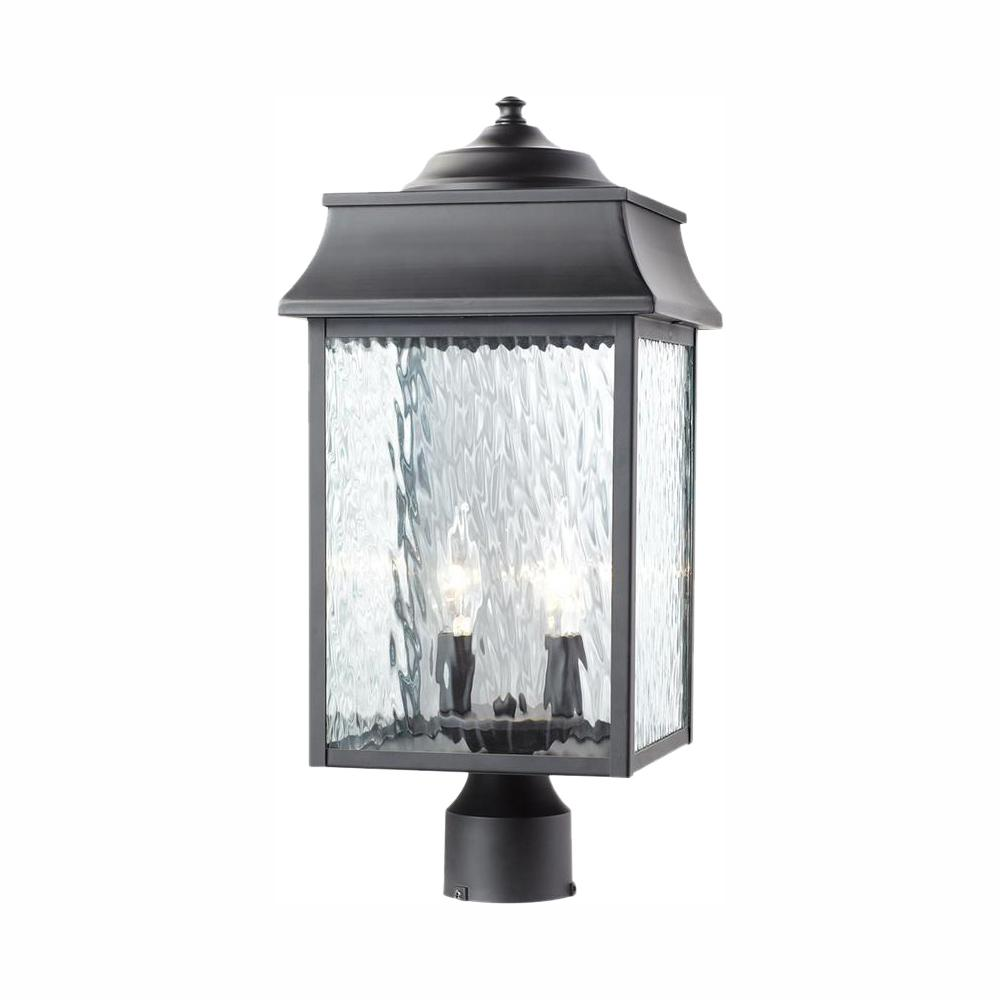Home Decorators Collection Scroll 2 Light Outdoor Black Post Light 302361088 With Images Post Lights Outdoor Post Lights Post Lighting