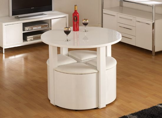 stefan stowaway white gloss round dining table and 4 white stool - White Gloss Kitchen Table