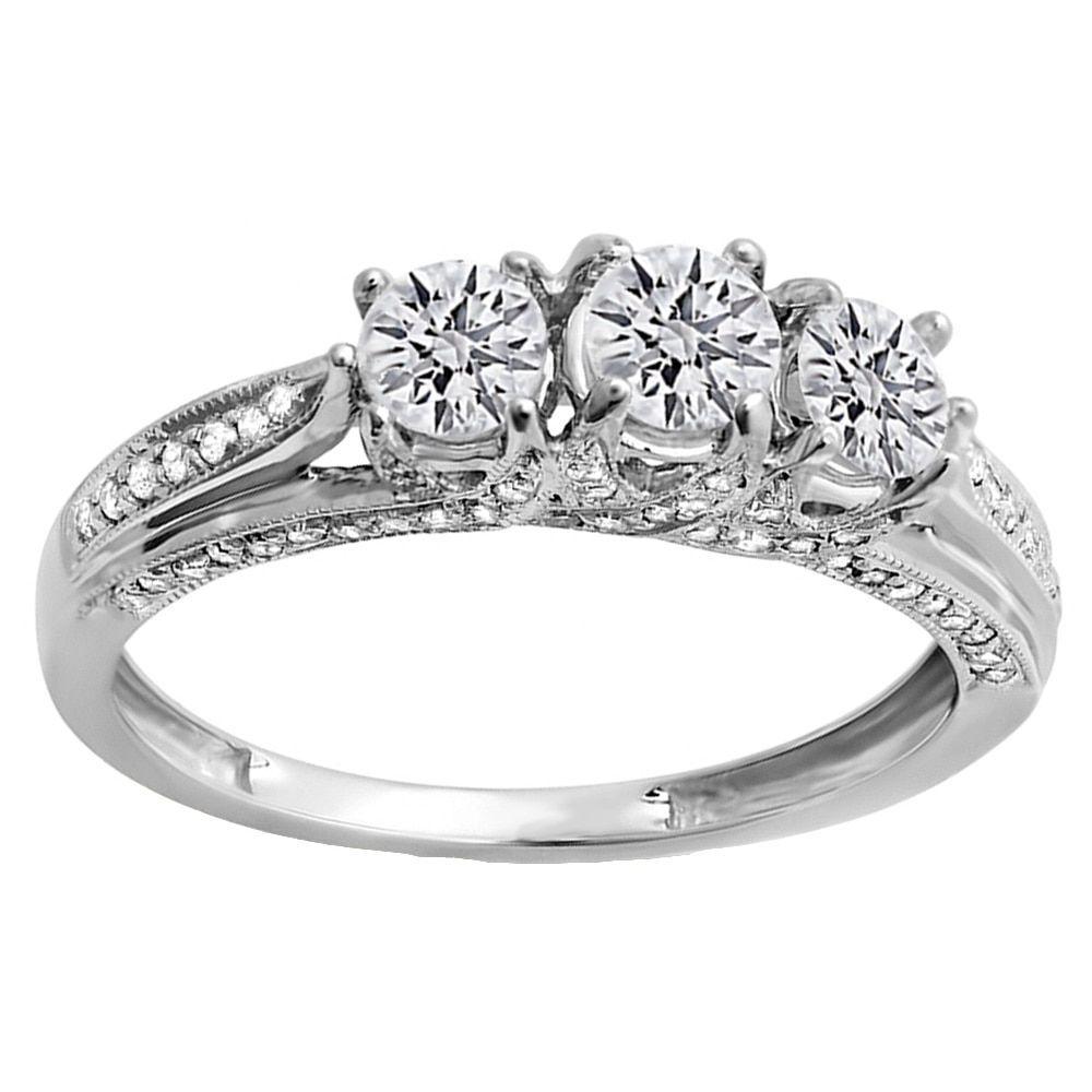 Miadora signature collection 14k white gold 1ct tdw diamond double row - Elora 14k Gold 1ct Tdw Round Diamond 3 Stone Engagement Ring H I I1 I2 Size 10 Rose Gold Women S Pink