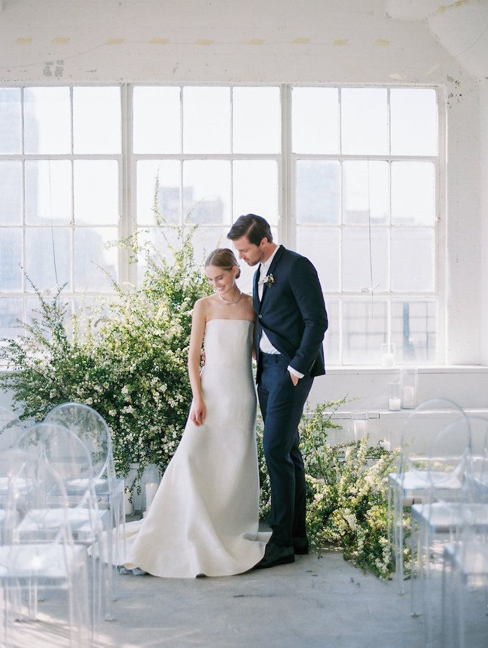 clean white and modern wedding ceremony