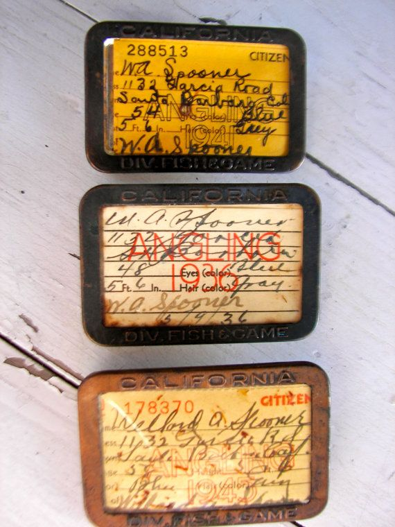 Vintage Fishing Licenses From California 1936 to 1945 | 50th
