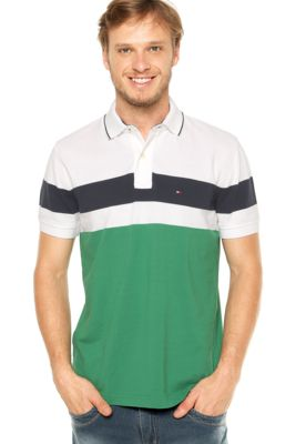 d001a655d7 Camisa Polo Tommy Hilfiger Branca/Verde, com recortes em tons contrastantes  e bordado da