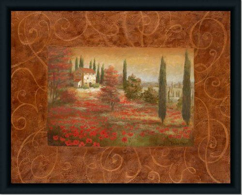 Poppy Fields Tuscany Landscape Decor I Print Framed by Framed Art by ...