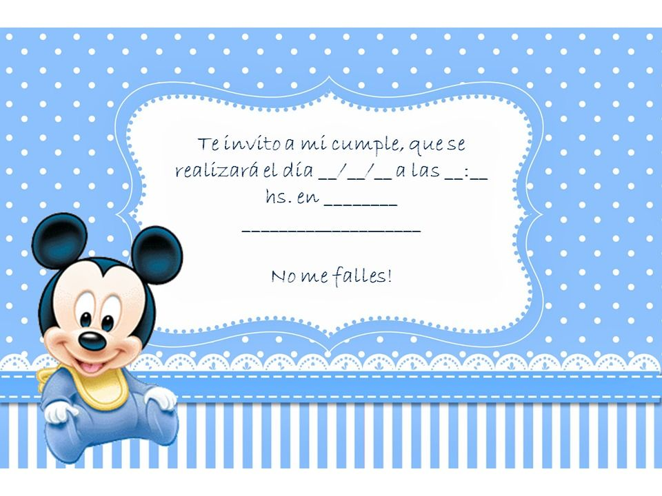 tarjeta mi bautismo y primer añito mickey mouse Buscar con Google BAUTISMO Pinterest