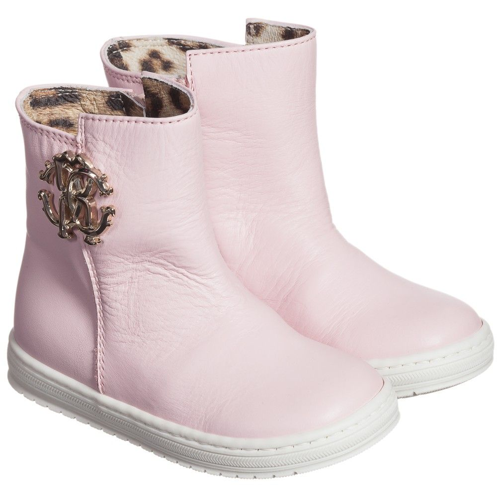 Girls Pale Pink Leather Boots | Leather, Cavalli and Pale pink