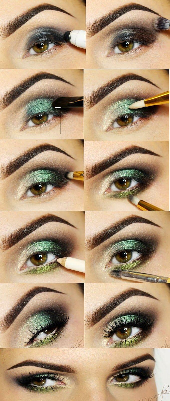 Green Eye Shades Makeup Tutorials Step by Step / Best