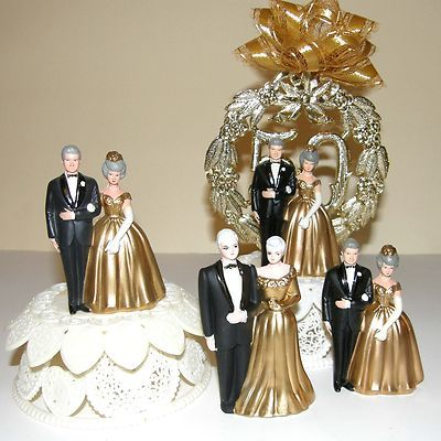Lot Of Four Vintage 50th Wedding Anniversary Cake Toppers