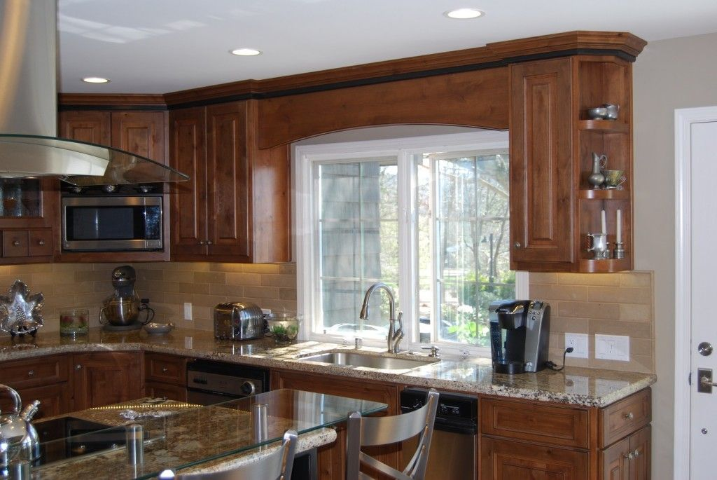 Superieur Cherry Cabinets, Raised Glass Bar Counter, Angled Corner Microwave Cabinet