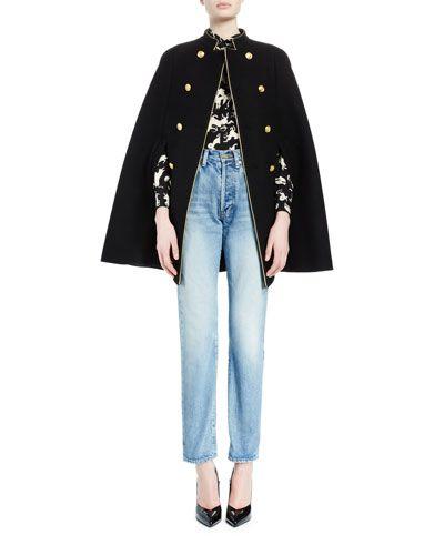 -6SC8 Saint Laurent  '80s Skinny High-Waist Denim Jeans, Denim Horoscope-Print Silk Blouse, Black/White