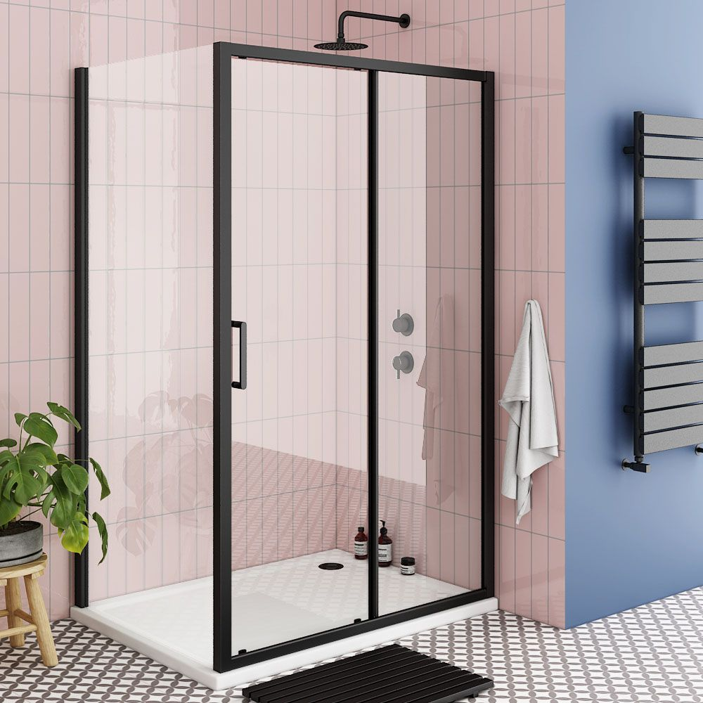 Turin Matt Black 1200 X 900mm Sliding Door Shower Enclosure Pearlstone Tray Victorian Plumbing Uk In 2020 Shower Enclosure Shower Doors Black Shower