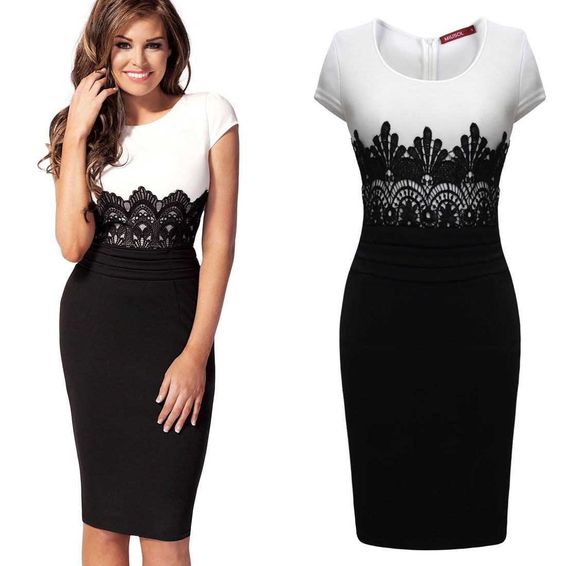 Womens Celeb Lace Contrast Evening Wedding Pencil Midi Dress Size ...