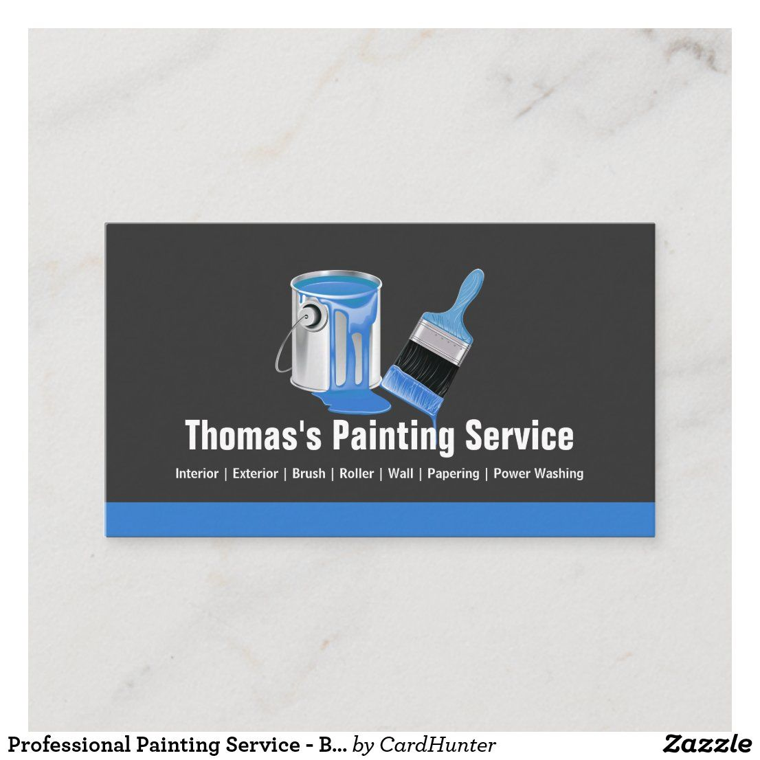 Professional Painting Service Blue Painter Brush Business Card Zazzle Com In 2021 Painter Business Card Red Business Cards Professional Paintings