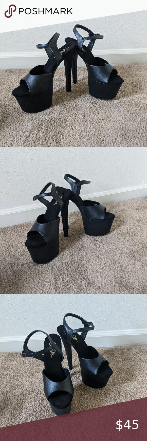 Black Platform Heels By Pleaser size 9