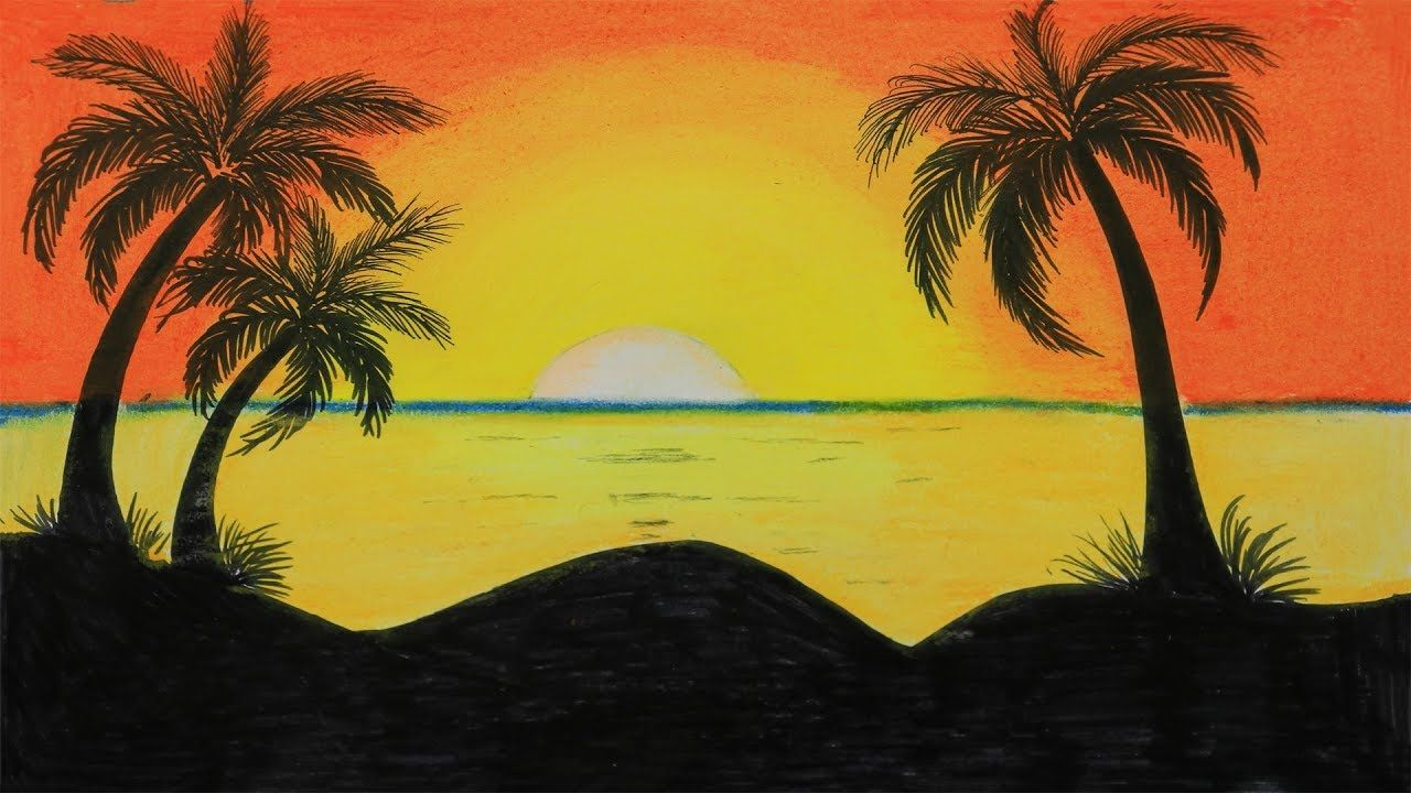 How To Draw A Scenery Of Sunset Step By Step With Oil Pastel Easy