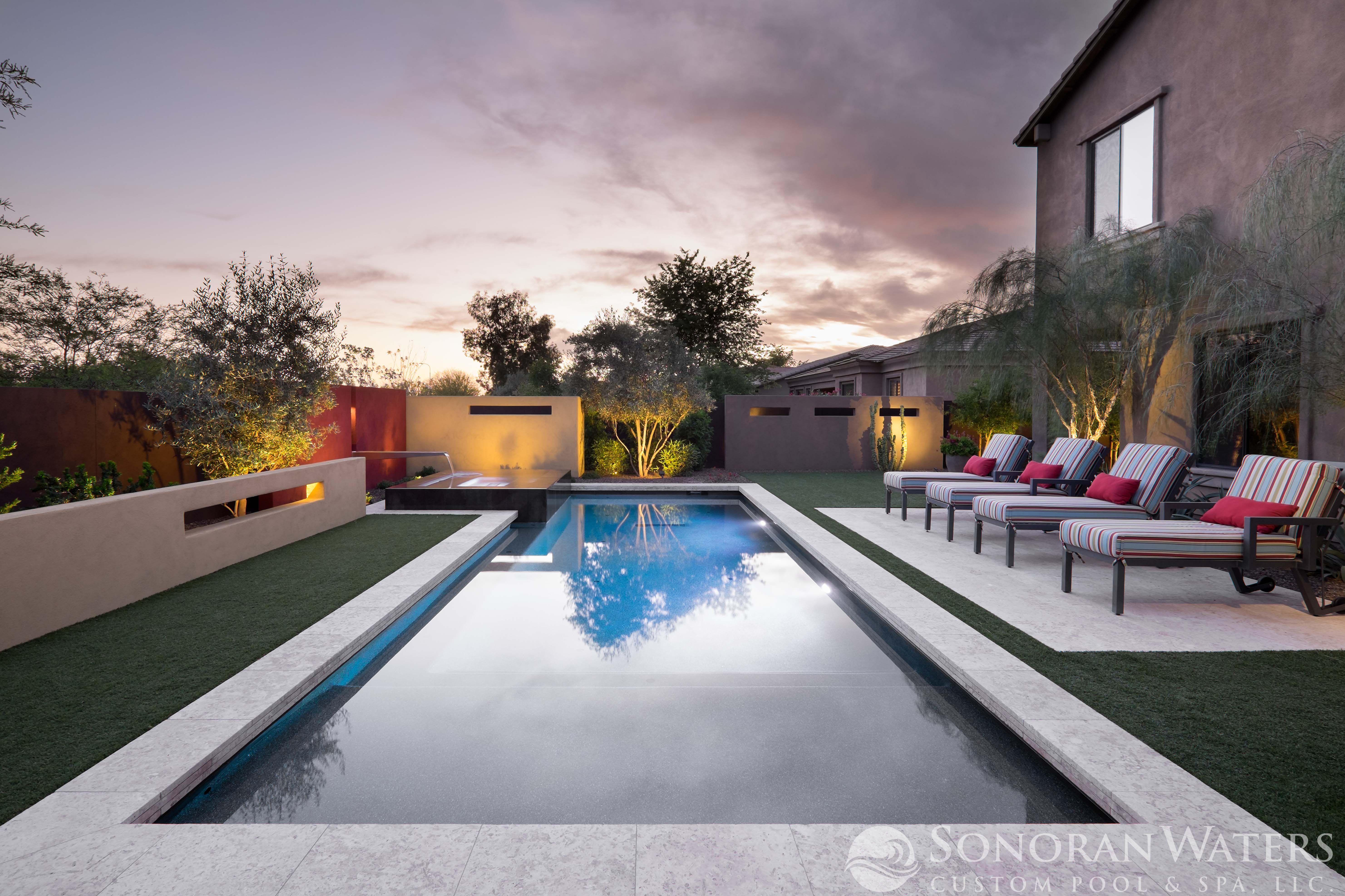 Resort Style Modern Pool Landscape In Scottsdale Az Custom Pools Pool Landscape Design Pool Landscaping