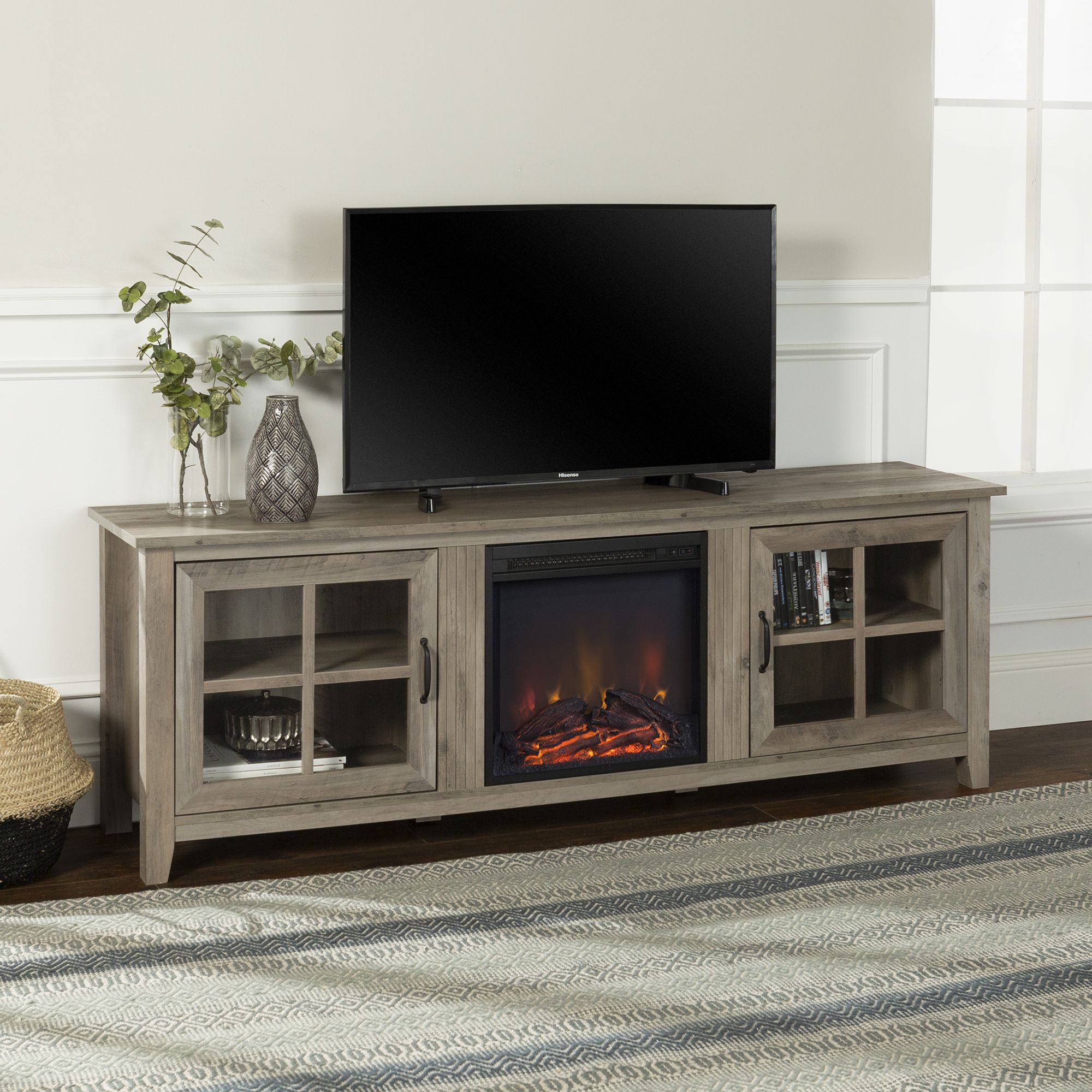 Home Fireplace Tv Stand Tv Stand With Glass Doors Farmhouse Fireplace