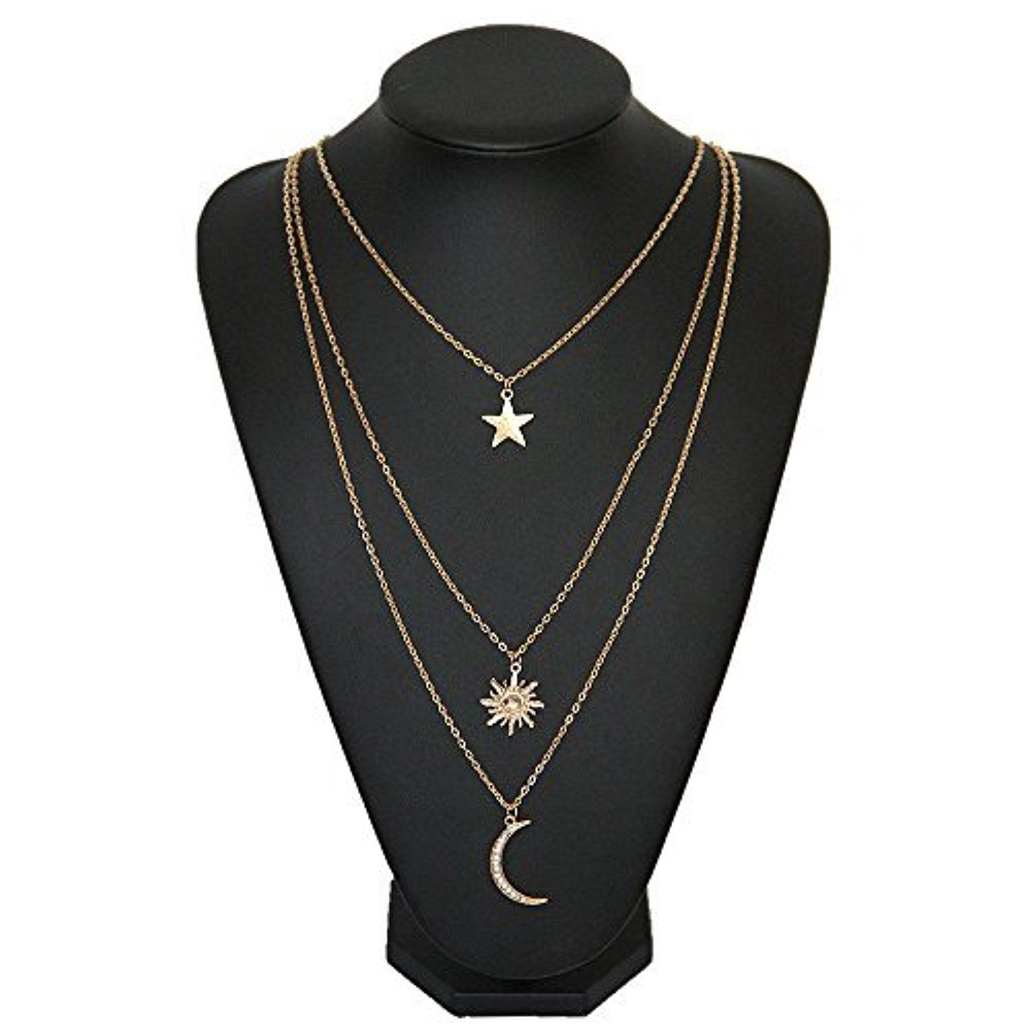 JoJo   Lin Fashion Cutout Multi Layered Gold Chain Crystal Star Moon and  Sun Pendant Necklace for Women by JoJo   Lin -- Awesome products selected  by Anna ... 31c027f064d9