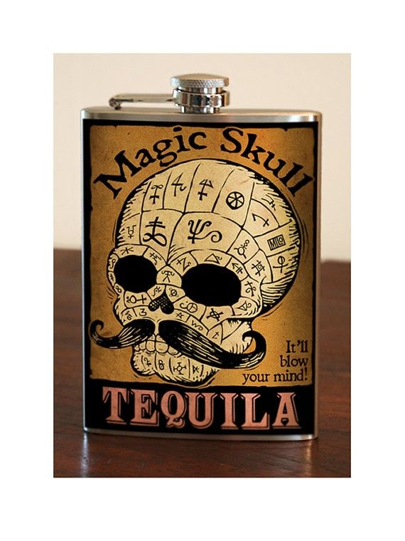 Perfect for helping you through the holiday season! #flask #tequila #skull #InkedShop #alcohol #holiday
