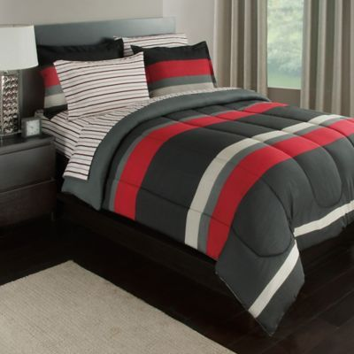 Rugby Stripe Reversible 6 Piece Twin Xl Comforter Set In Red Grey