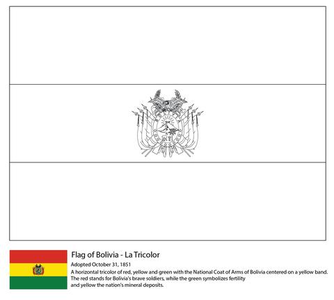 Bandera De Bolivia Dibujo Para Colorear Santiago Banderas
