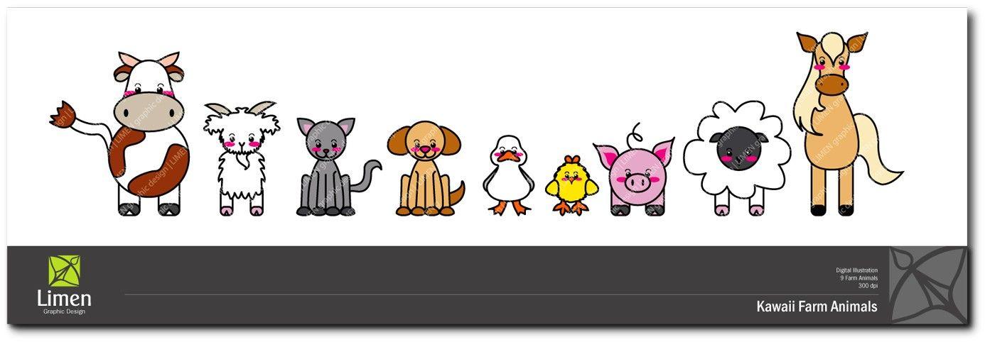 Baby Farm Animals Clip Art kawaii farm animals clip art digital paper goods farmlimen