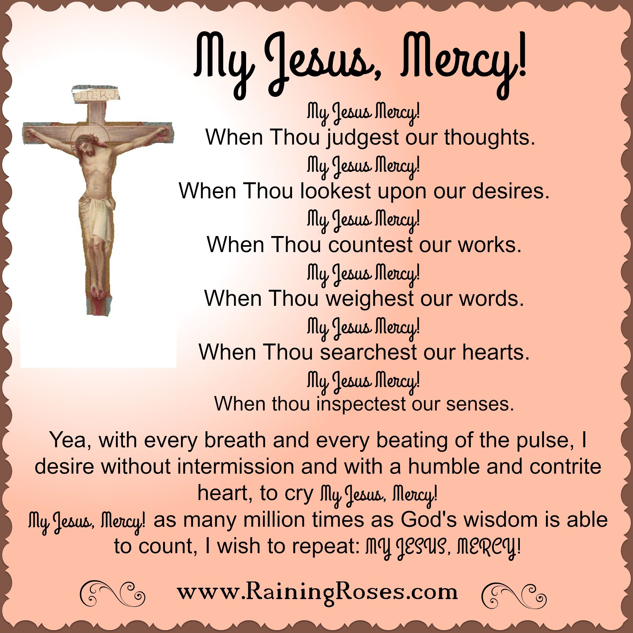 "my jesus, mercy"". a lovely old prayer taken from a 1934 ""an angel of"
