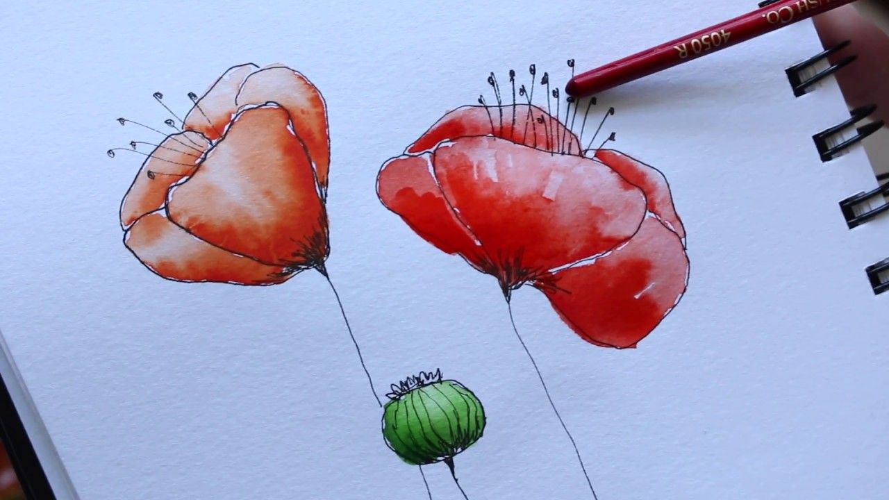 How To Overcome Watercolour Block Easy Poppy Tutorial Youtube