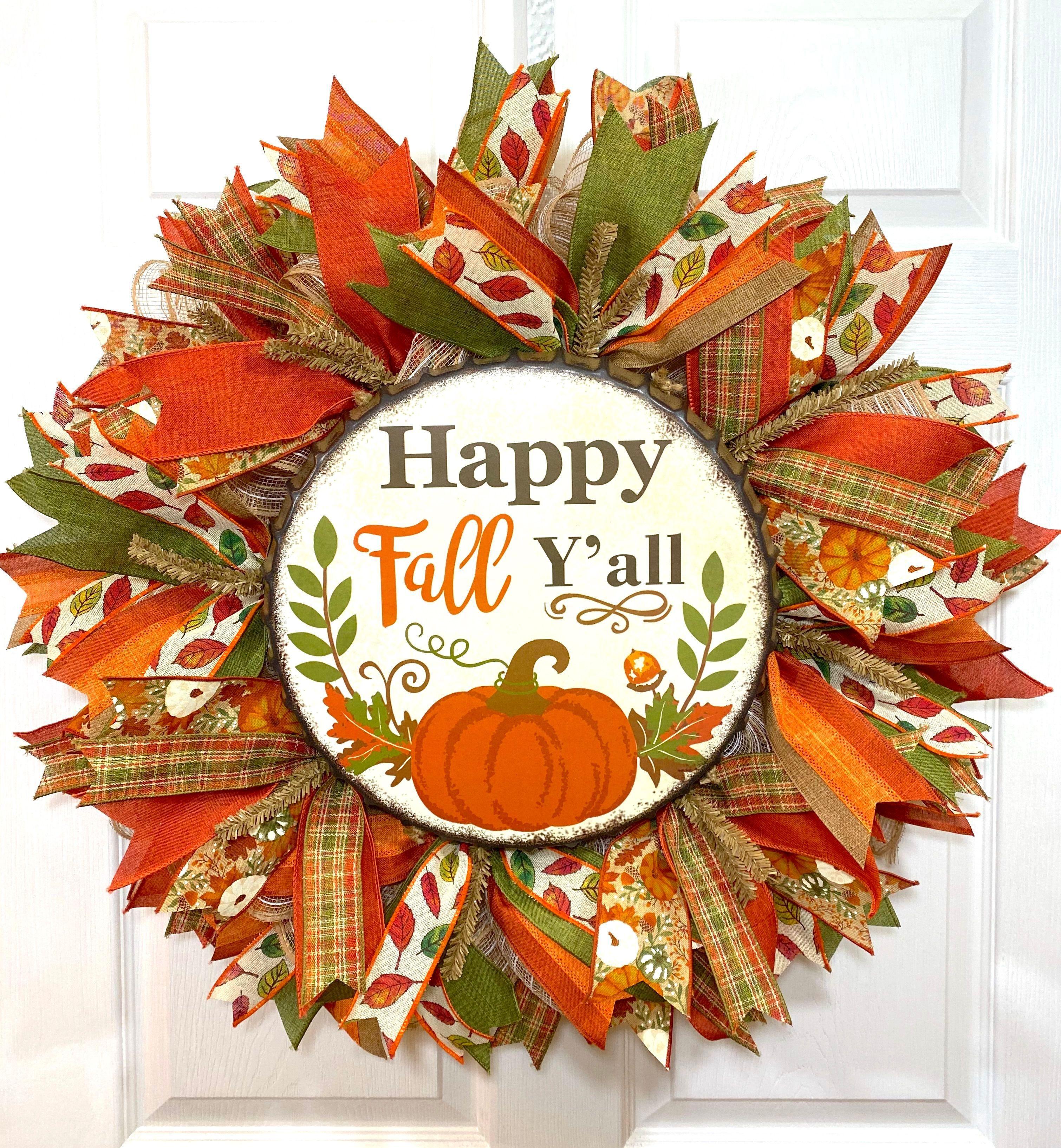 Happy Fall y/'all wreath wreath Fall decor fall wreaths Thanksgiving wreath wreaths fall wreath fall mesh wreath Fall wreath