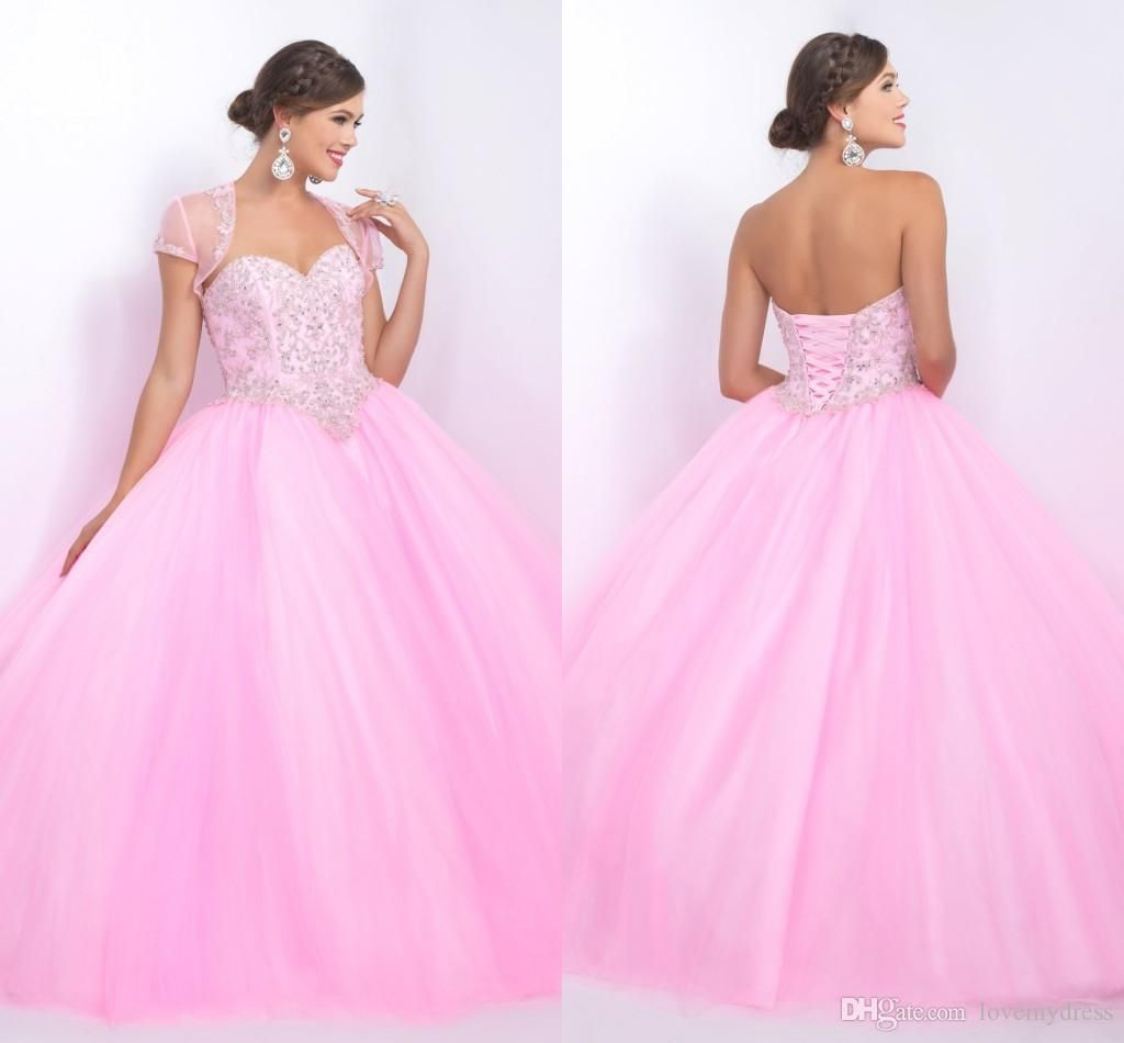 Pink Quinceanera Dress Ball Gown Dresses Crystals With Jacket ...