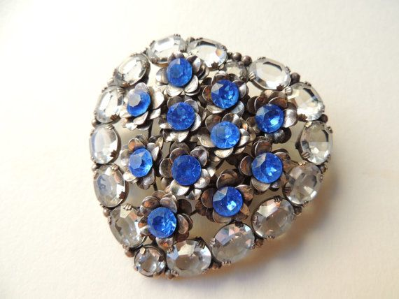 Sandor sterling rhinestone heart brooch       VJSE by art4u2buy