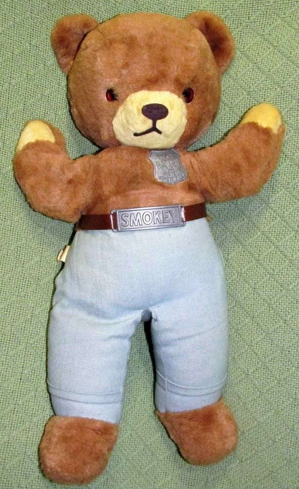Large Vintage Ideal Smokey The Bear Plush Stuffed Teddy 19 Doll Badge Belt Toy Ideal Smokey The Bears Bear Plush Teddy