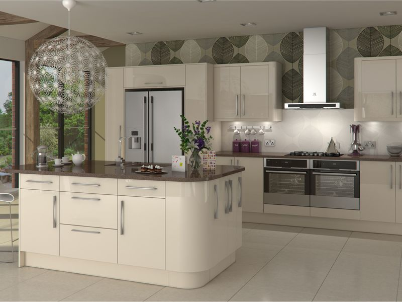Glossy Kitchen Worktops and Kitchen Doors
