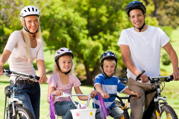 Family Riding Bikes Bicycle Safety Bicycle Camping Bike Safety