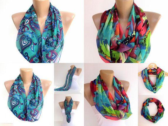 neon cowl scarfs Two scarfs  infinity scarves  scarf by seno, $30.00