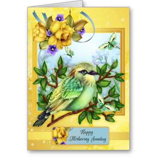 Happy mothering sunday with bird butterflies greeting card cards happy mothering sunday with bird butterflies greeting card m4hsunfo