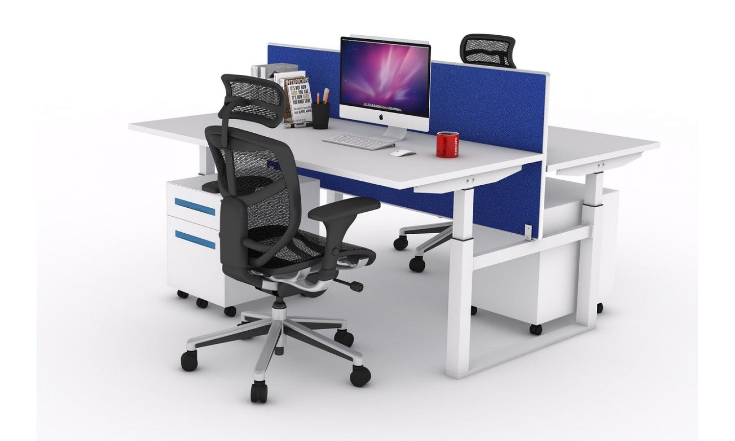 2 Person Sit Stand Workstation Electric Height Adjustable Stand Up Standing Work Station Adjustable Height Stand Workstation