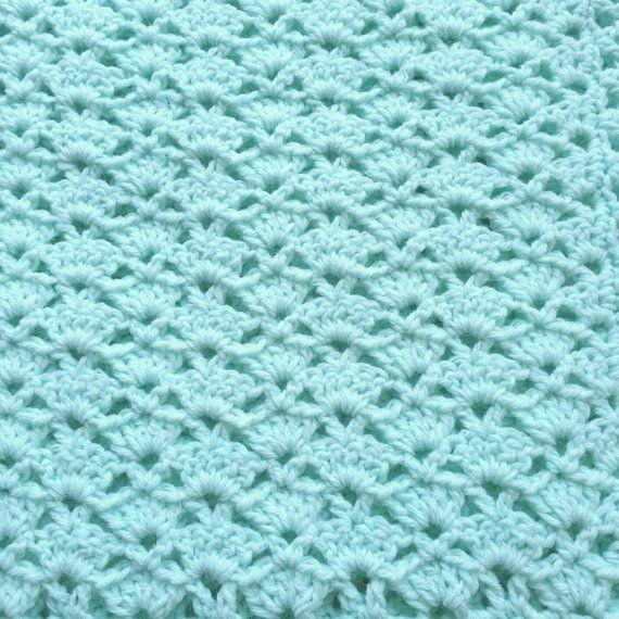 Crochet Baby Blanket Mint Green Baby Blanket Car Seat Stroller Crib ...