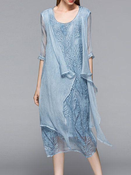 SALE | Shop Midi Dresses - Light Blue Silk Embroidered Asymmetrical Simple Midi Dress online. Discover unique designers fashion at StyleWe.com.