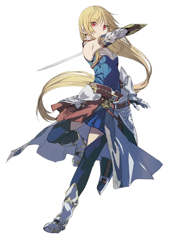 anime girl with blonde hair red eyes blue dress belt