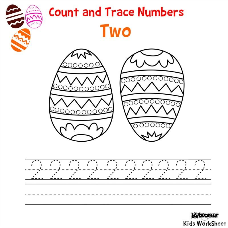 CountandTraceNumber2EasterWorksheet Math – Number 2 Worksheets for Kindergarten