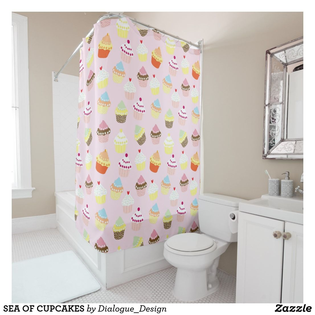 Sea Of Cupcakes Shower Curtain Zazzle Co Nz Pink Shower